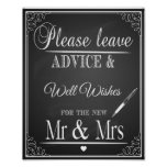 "Chalkboard ""please leave advice & wishes Print"