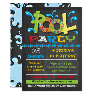 Chalkboard Pool Party with water splashes Card