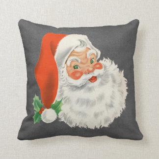 Chalkboard Print Vintage Santa Claus Christmas Throw Pillow