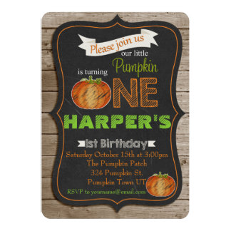 Chalkboard Pumpking 1st birthday Party invitaiton Card