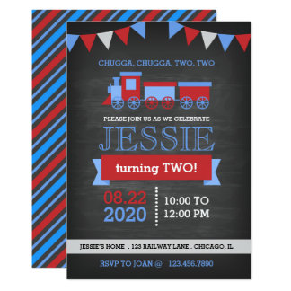 Chalkboard Red and Blue Train Birthday Card