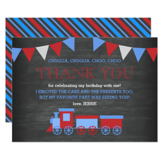 Chalkboard Red and Blue Train Birthday Thank You Card