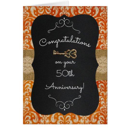 Chalkboard Red Damask Lock & Key Anniversary Card