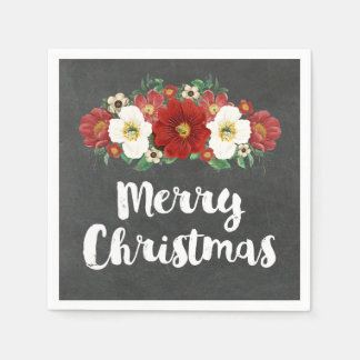 Chalkboard Red Flowers Merry Christmas Napkin Disposable Napkin