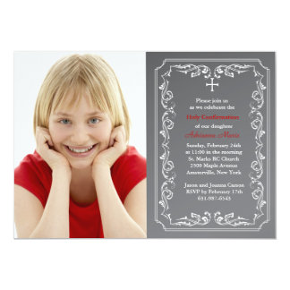 Chalkboard Religious Photo Invitation