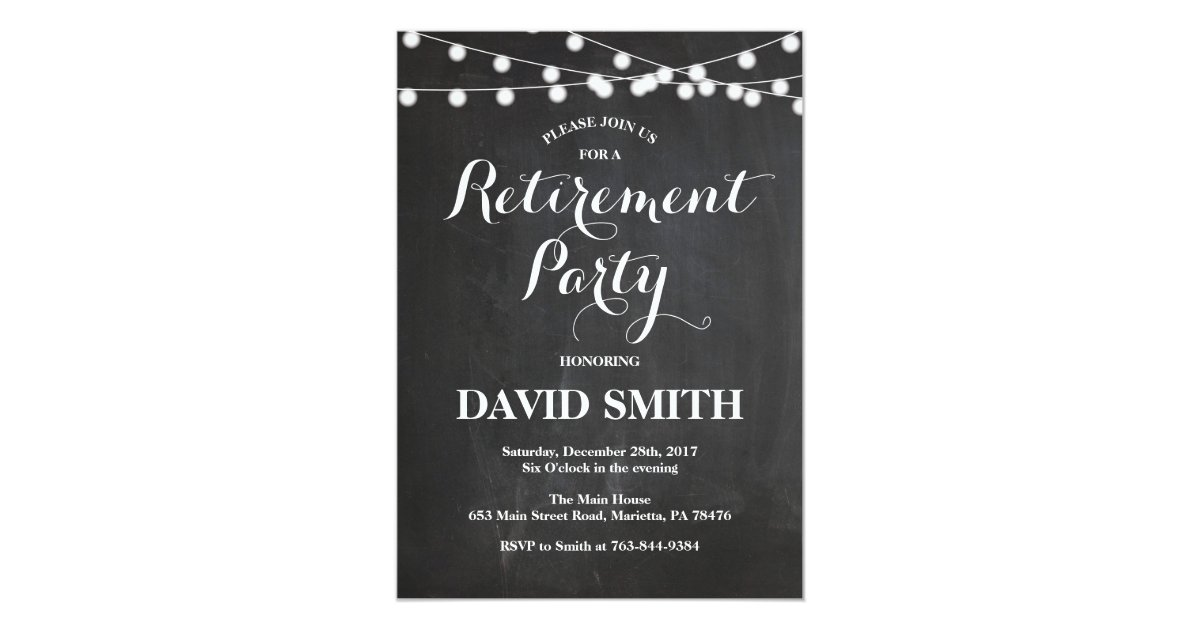 Chalkboard Retirement Party Invitation Card | Zazzle.ca
