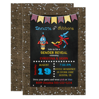 Chalkboard Rockets or Ribbons Gender Reveal Card