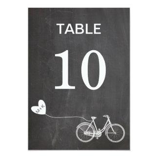 """Chalkboard romantic bike initials table number 5"""" x 7"""" invitation card"""