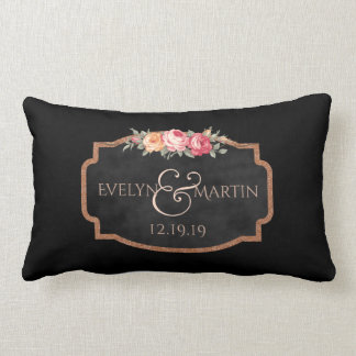 Chalkboard Rose Monogram Reversible Wedding Lumbar Lumbar Pillow