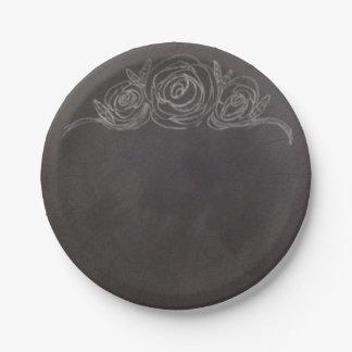 Chalkboard Rose Paper Plates
