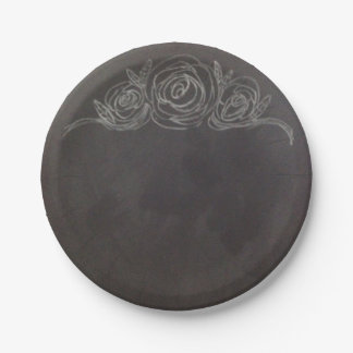 Chalkboard Rose Paper Plates 7 Inch Paper Plate
