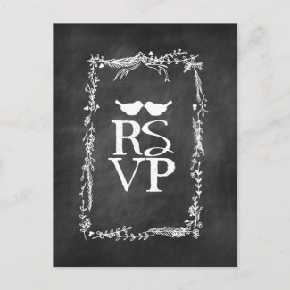 Chalkboard RSVP Lovebirds Twig Wreath Postcard