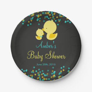 Chalkboard Rubber Duck Baby Shower Paper Plate