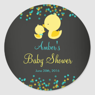 Chalkboard Rubber Duck Baby Shower Sticker