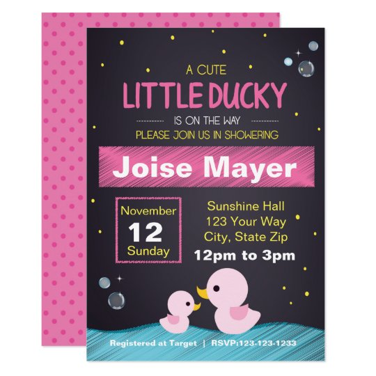 Chalkboard Rubber Ducky Invitation (Girl)