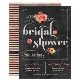 Chalkboard Rustic Floral Bridal Shower Invitation