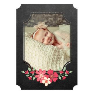 Chalkboard Rustic Floral Typography Sip N See Card