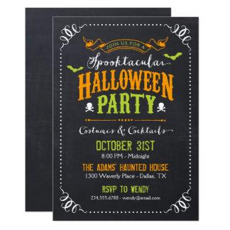 Chalkboard Rustic Spooktacular Halloween Party Card