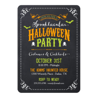 Chalkboard Rustic Spooktacular Halloween Party Card