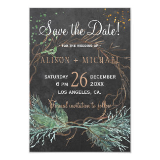 Chalkboard rustic winter wreath save date wedding card
