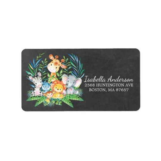 Chalkboard Safari Jungle Baby Shower Address Label