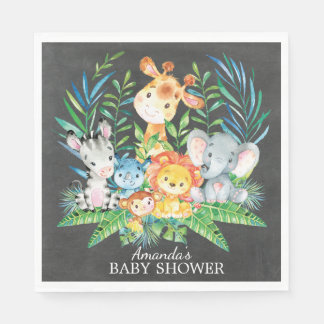 Chalkboard Safari Jungle Baby Shower Paper Napkins