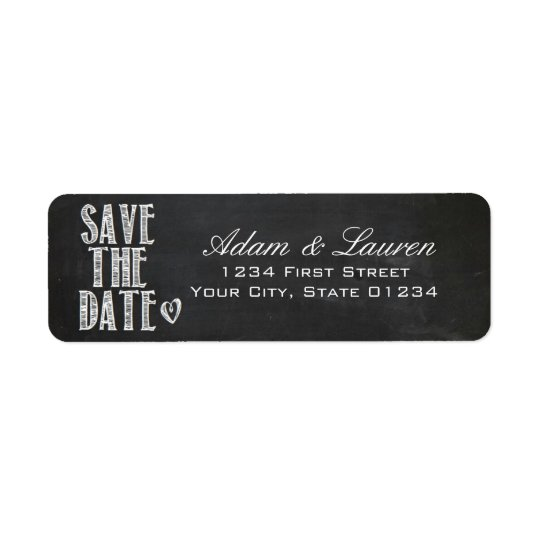 Chalkboard Save the Date Address Labels