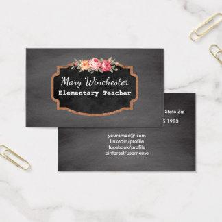 Chalkboard School Teacher | Tutor Education Roses Business Card
