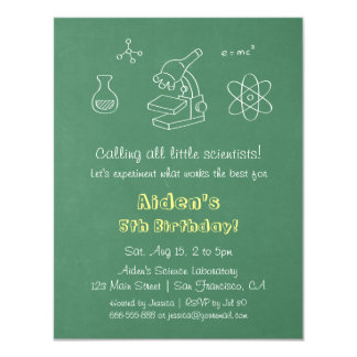 Chalkboard Science Birthday Party Invitations