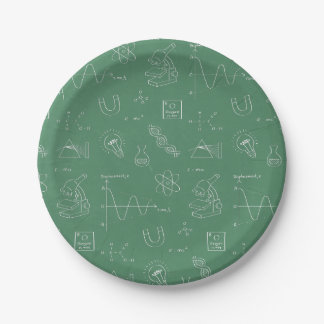 Chalkboard Science Doodles Birthday Party Supplies 7 Inch Paper Plate