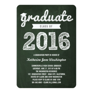 "Chalkboard Scribbles Graduate Class Of 2016 Party 5"" X 7"" Invitation Card"