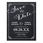 Chalkboard Script Modern Typography Save the Date Postcards