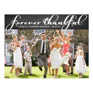 Chalkboard Script Wedding Thank You Postcard