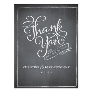 Chalkboard Script White Thank You Card
