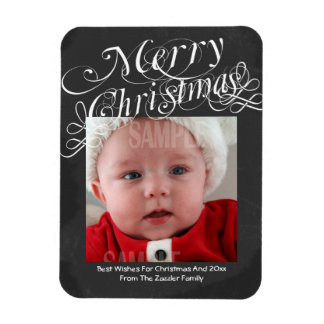 Chalkboard Scroll Font Merry Christmas Template Magnet
