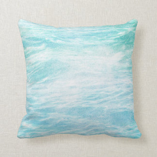 Chalkboard Sea Water Blue Grungy Ocean Waves Throw Pillow