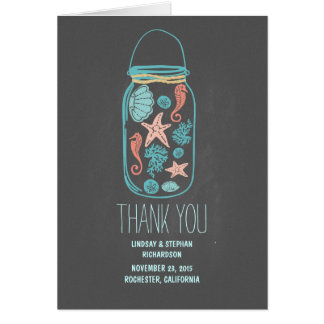 Chalkboard seashells mason jar wedding thank you card