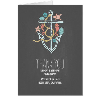 Chalkboard seaside wedding thank you cards