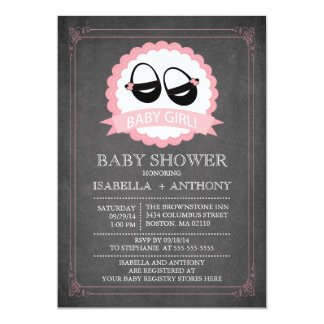 Chalkboard Shoes Girls Baby Shower Invitaitons 5x7 Paper Invitation Card