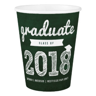 Chalkboard Sketch 2018 Graduation Party Paper Cup
