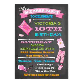 Chalkboard Sleepover Slumber Party Spa Birthday Card