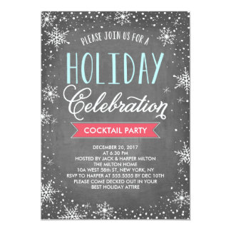 Chalkboard Snowflake Holiday Party Card