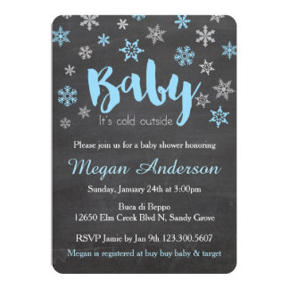 Chalkboard Snowflakes Boy Baby Shower Invitations