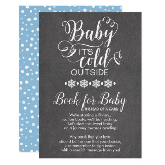 Chalkboard Snowflakes Bring A Book for Baby Card