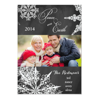 Chalkboard Snowflakes Christmas Photo Card