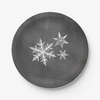 Chalkboard Snowflakes   Merry Christmas 7 Inch Paper Plate