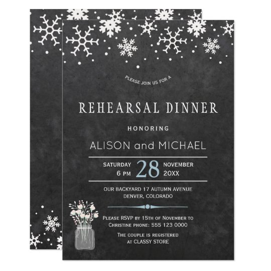 Chalkboard snowflakes winter rehearsal dinner card
