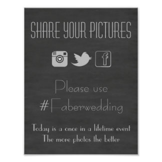 Chalkboard Social Media Wedding Photo Hashtag Sign