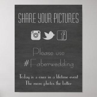 Chalkboard Social Media Wedding Photo Hashtag Sign Poster