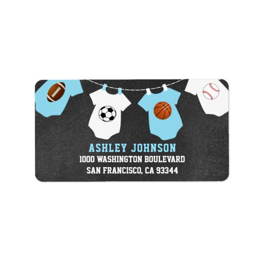 Chalkboard Sports Theme Blue Boy Baby Shower Label